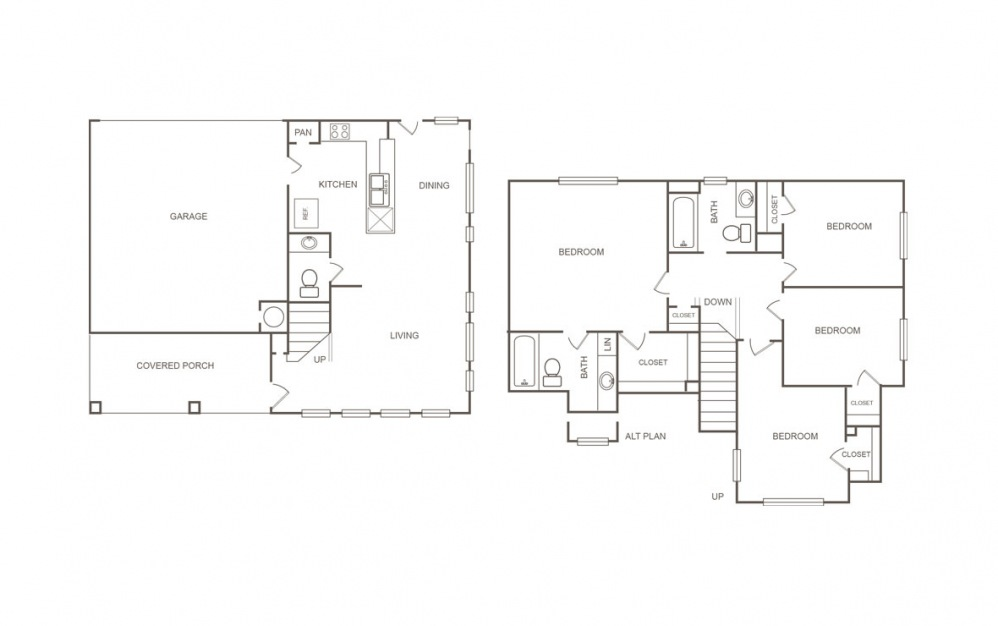 A - 4 bedroom floorplan layout with 2.5 bath and 1429 square feet (1st floor 2D)