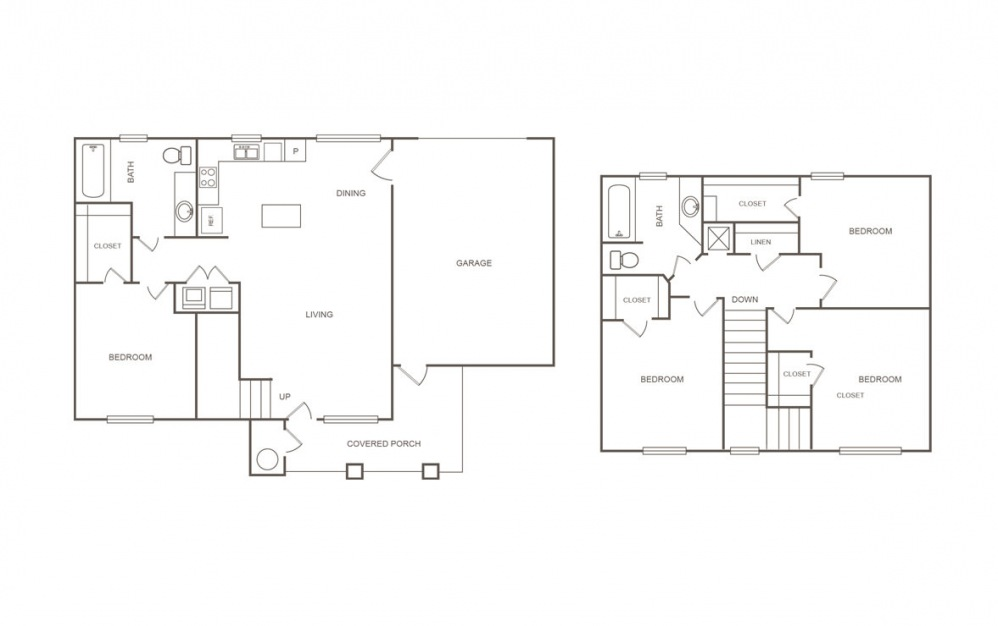 H - 4 bedroom floorplan layout with 2 bath and 1445 square feet (1st floor 2D)